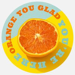 circular citrus sticker Orange