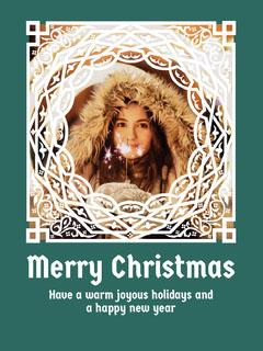 Blue and White Ornate Christmas Card Christmas