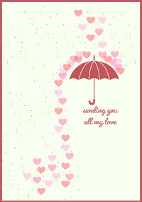 Pink and White Umbrella Valentines Card  Messages d'amour