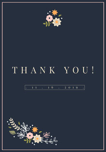 Navy Blue Wedding Thank You Card Bryllupstakkekort