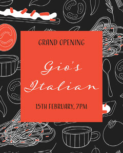 Black & Red Illustrated Restaurant Opening Instagram Portrait Grand Opening Flyer