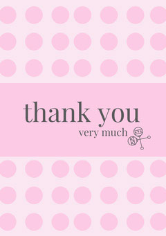 Pink Polka Dots Thank You Baby Shower Card Baby's First Year
