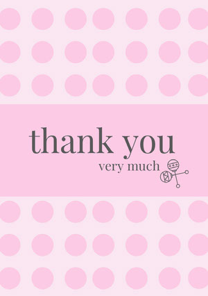 Pink Polka Dots Thank You Baby Shower Card Baby Shower Thank You Card