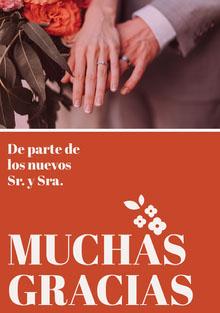 orange and cream floral wedding thank you cards Tarjetas de agradecimiento de boda