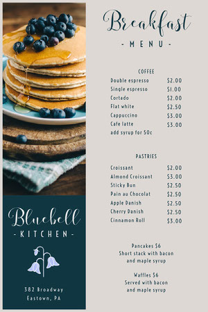 Bluebell Cafe Breakfast Menu カフェ メニュー