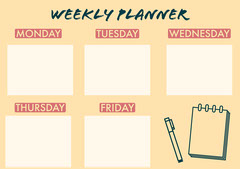 Yellow Illustrated Weekly Planner A4 Landscape Yellow