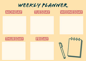 Yellow Illustrated Weekly Planner A4 Landscape Planificateur