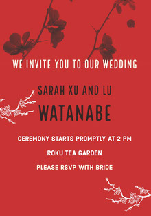 Black White and Red Wedding Invitation 결혼 청첩장