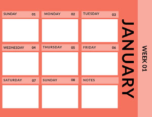 Red January Calendar Calendrier