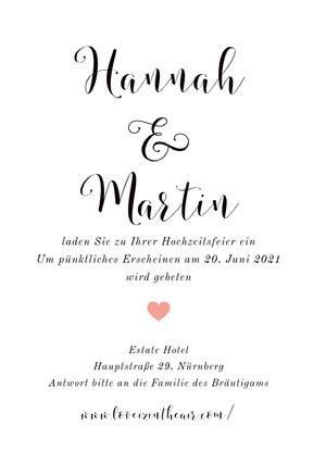 white minimal wedding cards Hochzeitseinladung
