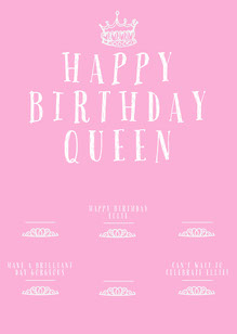 Pink and White Feminine Style Crown Birthday Card Birthday Card