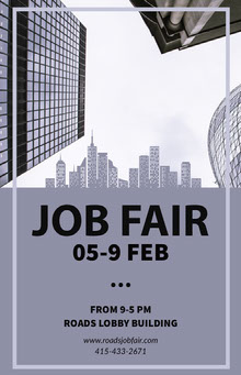 Blue Job Fair Poster with City Poster