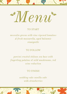 Floral Green Wedding Menu Menú de bodas