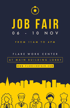 Navy and Yellow, Job Fair Event Ad Poster Job Poster