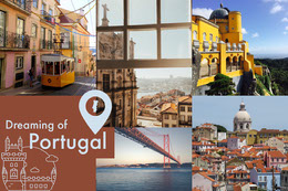 Portugal Travel and Tourism Mood Board with Architecture Collage di foto