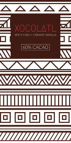 Brown Chocolate Product Label with Tribal Patterns Pattern Design