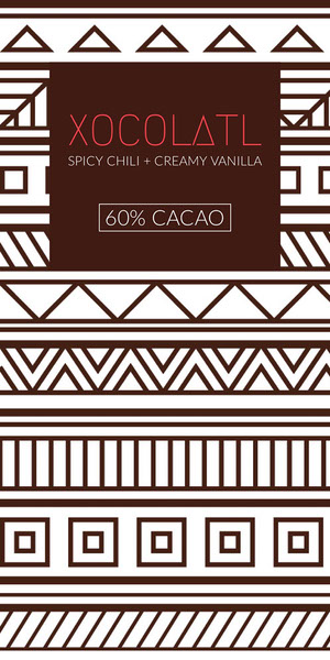Brown Chocolate Product Label with Tribal Patterns Etichetta
