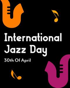 Black Illustrated International Jazz Day Instagram Portrait Jazz