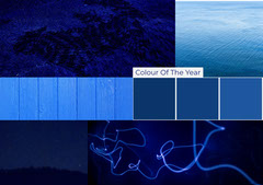 Blue Color Mood Board with Collage Sky