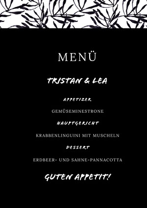 black and white wedding menu  Menü