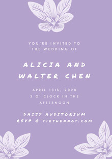 Violet and White Wedding Invitation 결혼 청첩장