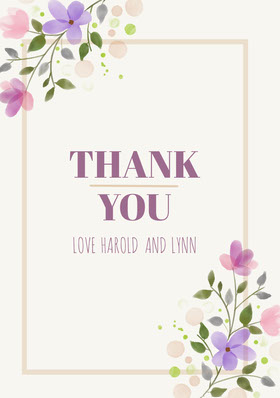Colorful Flowers and Grey Wedding Thank You Card Thank You Card