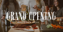 Warm Toned Greek Grill Bar Ad Facebook Banner Grand Opening Flyer