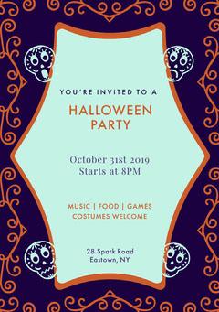 Purple Sugar Skulls Halloween Party Invitation Halloween Party Invitation