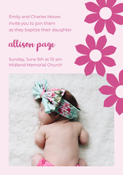 Pink Floral Daughter Baptism Invitation Card with Sleeping Baby Photo Baptism
