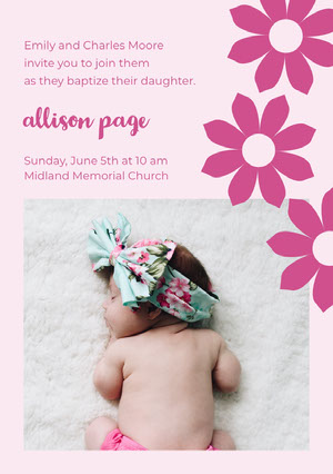 Pink Floral Daughter Baptism Invitation Card with Sleeping Baby Photo Invitation de baptême