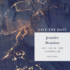 Blue and Gold Texture Border Wedding Save The Date Border