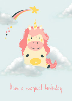 Blue Unicorn Cloud Magical Birthday Card Kids