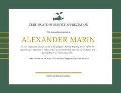 Green and Gold Volunteering Appreciation Certificate Volunteer