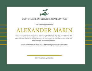 Green and Gold Volunteering Appreciation Certificate Diploma Certificate