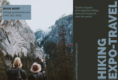 Blue Hiking Travel and Tourism Brochure with Backpackers in Mountains Hike