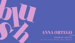 Blue and Pink, Blush Makeup Artist, Business Card Makeup