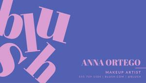 Blue and Pink, Blush Makeup Artist, Business Card 101 Templates - Professional Communicator