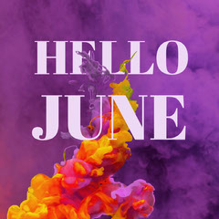 Purple Summer Instagram Square Graphic with Ink Paint