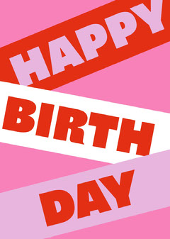Pink and Red Typography Happy Birthday Card Birthday