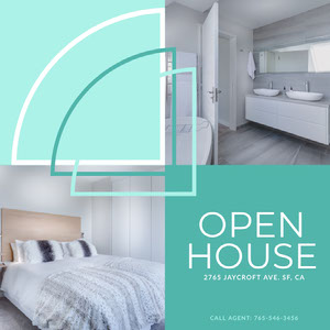Bright, White and Blue Open House Ad Instagram Post Real Estate