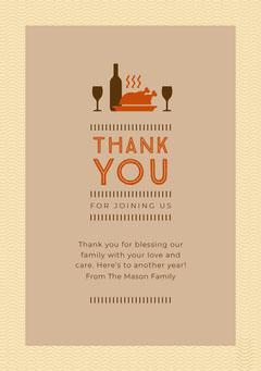 Turkey Thanksgiving Dinner Thank You Brown