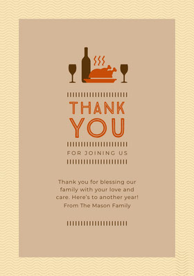 Ciolet and Orange Turkey Thanksgiving Dinner Thank You Thank You Card