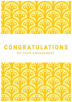 Yellow Pattern Engagement Congratulations Card Pattern Design