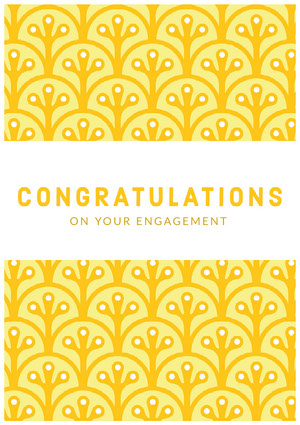 Yellow Pattern Engagement Congratulations Card Carte de félicitations
