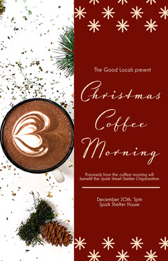 Red Christmas Coffee Morning Poster Fundraiser