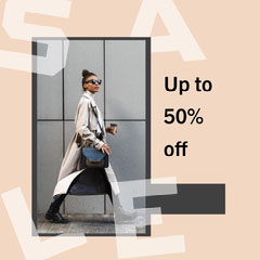 grey brown white cream sale clothing instagram square Sale Flyer