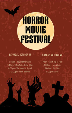 Black and Brown Horror Movie Festival Poster Scary