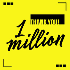 Yellow & Black 1 Million Milestone Instagram Square Thank You Poster