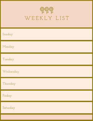 Pink and Gold Personal Weekly Planner with Flowers Planificador