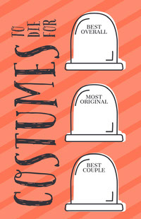 Orange Striped Gravestone Halloween Party Best Costume Card Festa di Halloween